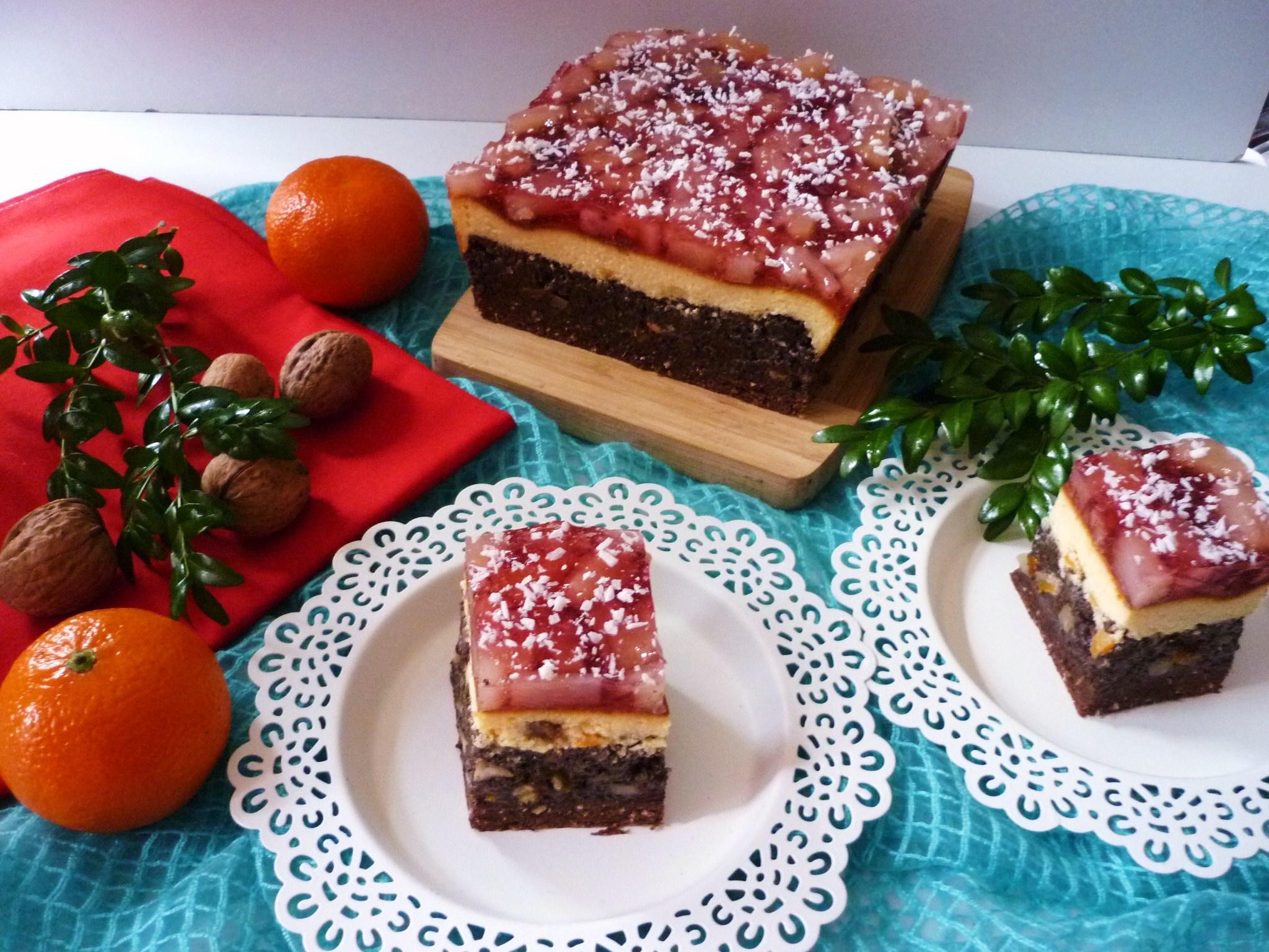 Ciasto serowo-makowe z galaretką
